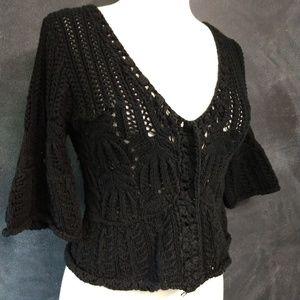 FREE PEOPLE | Black Crochet Bell Sleeve Sweater Sm
